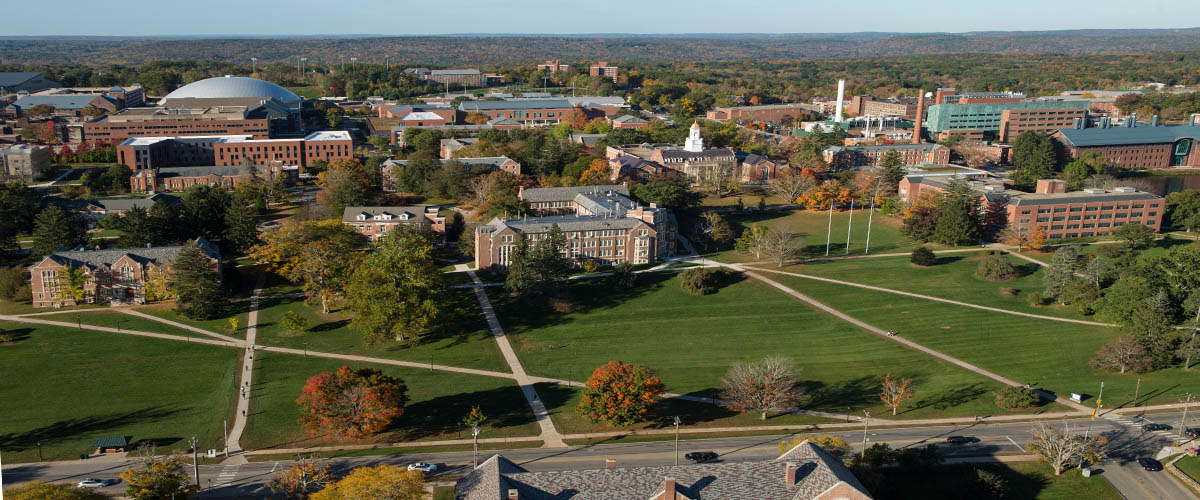 An aerial view of the University of Connecticut