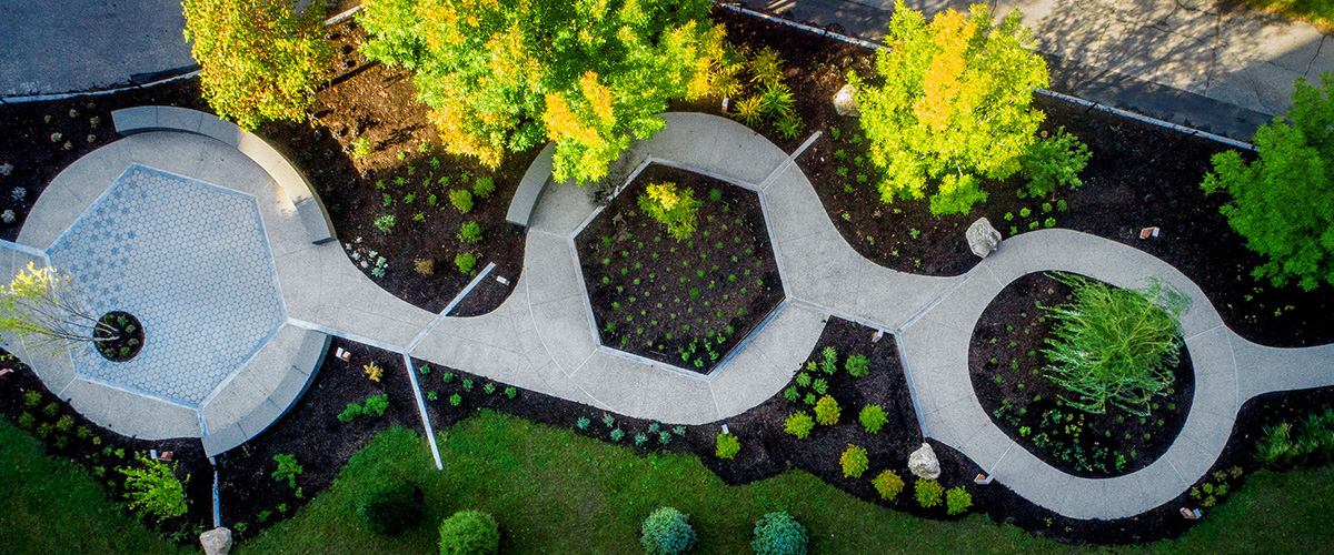 an aerial above the UConn School of Pharmacy Medicinal Garden