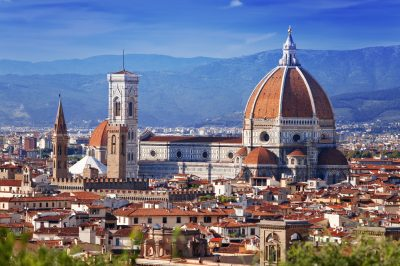 View looking over the red historic roofs of Florence Italy
